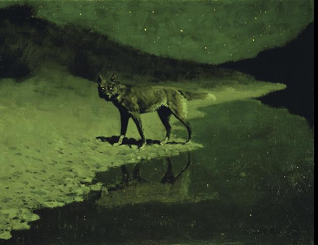 Frederic Remington: Moonlight, Wolf